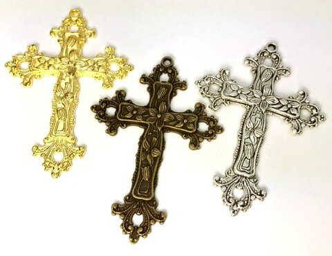 ★☆金属チャーム クロス 十字架 E ビッグ 74*53mm 厚3.5mm 2個入り アンティークゴールド(真鍮古美) 銀古美 ゴールド 3色展開 花模様入り