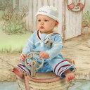 Bunnies By The Bay バニーズバイザベイSkipit小さなキャプテン長袖カバーオールロンパース♪男の子(出産祝い ベビー服 男の子 ブルー セーラーカラー マリン カバーオール)