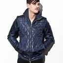 AKM Contemporary(エイケイエムコンテンポラリー) キルティングレイヤードジャケット(ブラック/ネイビー)メンズ/メンズファッション/人気/ブラン...