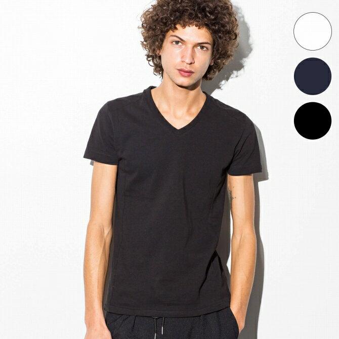 AKM Contemporary(エイケイエムコンテンポラリー) エンボスロゴVネックTシャツ(ホワイト/ネイビー/ブラック)