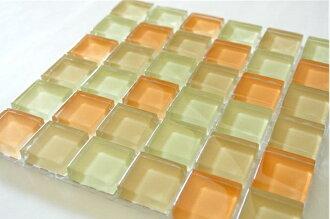 Mosaic glass tile Orange mix 15 cm square back net stick one piece 2.3x2.3cm 36 pieces per sheet