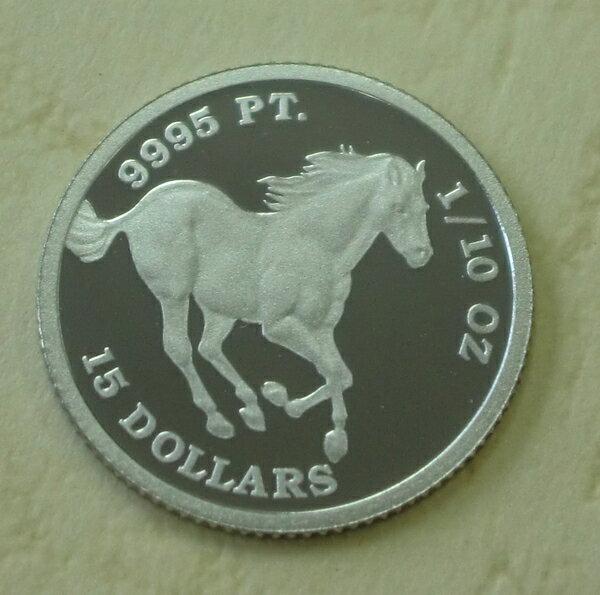 【プラチナ コイン】純プラチナ ツバルホース 馬 1/10オンス 2010年製 ツバル政府発行品位99.95 保証書付き