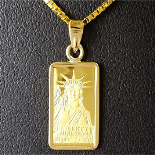【純金 ネックレス インゴット】 24金 スイスクレジット リバティー ネックレス 1g 18金 ツメ枠(コインネックレス コインペンダント ペンダントトップ) 純金コインネックレス。24金の美しい純金コインをネックレスにしました。ぜひ最高品質の純金コインネックレスを。