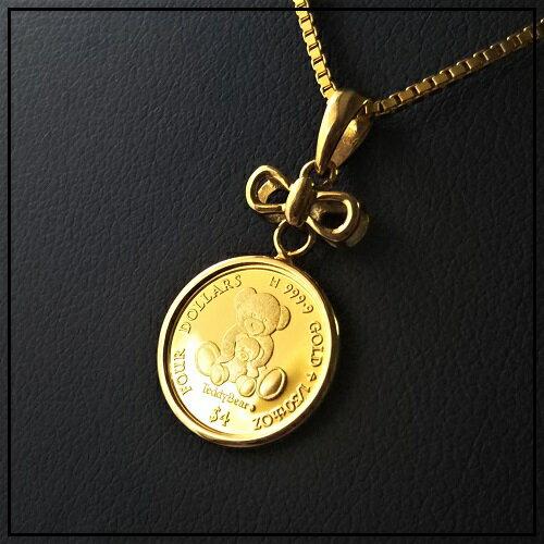 【純金 ネックレス コイン】24金 テディー ベア 金貨 1/30オンス 2014年製 18金リボン付き 伏せ込枠 純金ペンダント ゴールドネックレス jewelry 親子のテディ くま
