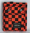 ■未使用■ ポーター×ビームス チェッカー柄折り財布(縦)オレンジ×黒 ウォレット PORTER×BEAMS A06253