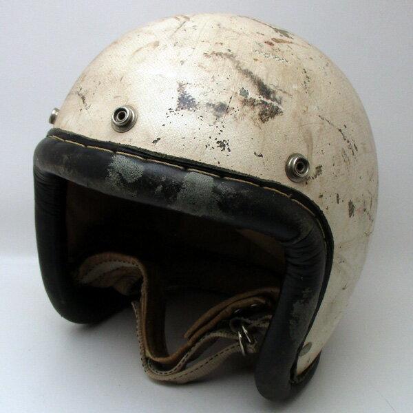 【SALE!!6/21(木)17:00まで】50's McHAL SPEEDWAY 革巻リム 初期型 WHITE 58cm スモールジェットヘルメットオープンフェイスアメリカンマックホールホワイト白色Mサイズ