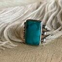ショッピングチョッパー Turquoise Split Shank Silver Ring(ターコイズ スプリットシャンク シルバーリング) indian jewelry指輪トルコ石スクエアレクタングルシルバードロップホールマーク青ブルーオーセンティック銀アンティークアクセサリーナバホnavajo