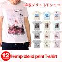 麻混プリントTシャツ/A133メンズ レディース