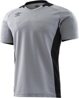 【ラッキーシール対象】UMBRO(アンブロ)サッカーゲームシャツ・パンツJr.ゴールキーパーシャツ ショートスリーブ ジュニア サッカー・フットサル用キーパーウェアUAS6708GJシルバーの画像