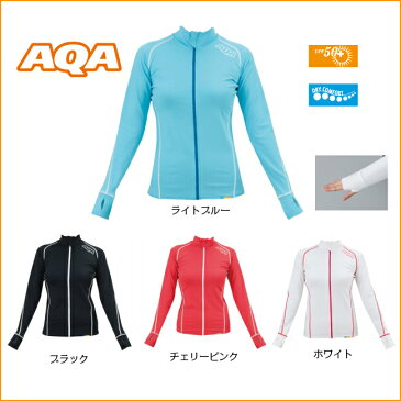 【 AQA 】 アクア UV DRY スイムジップ レディース  ( KW-4452A/ 長袖 / 女性用 / フルジップラッシュガード )