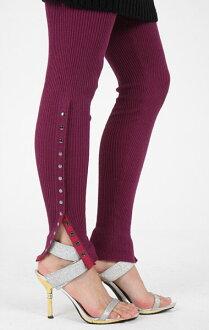 SPLASH FAST [スプラッシュファースト] rib knit with snap デザインニットレギンス