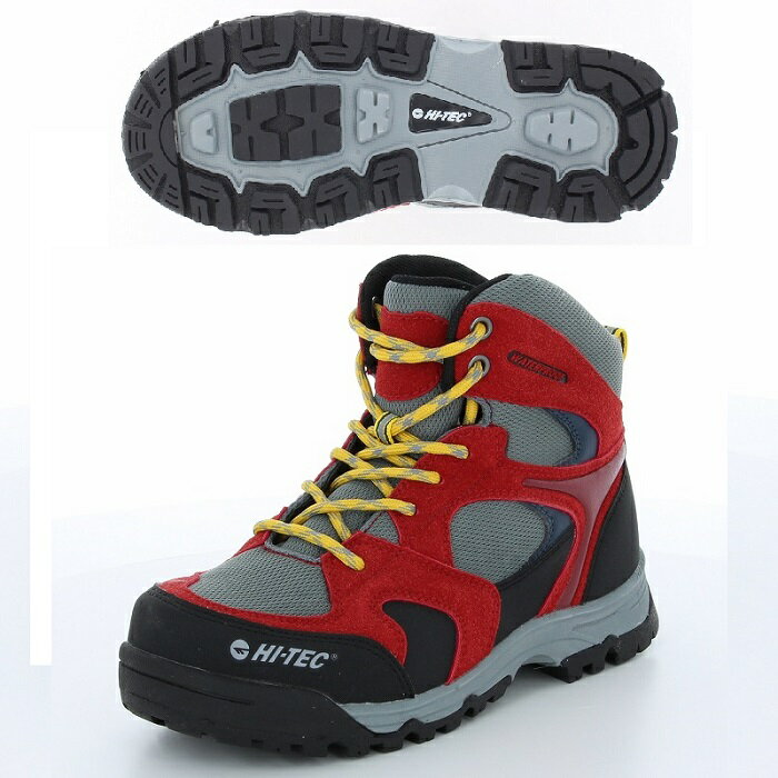 ハイテック ジュニア トレッキングシューズ ライトハイキング HT KID12 AORAKI MID WP KIDS 53120402 レッド/グレイ
