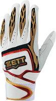 ZETT(ゼット)野球&ソフトバッティンググラブ(野球・ソフトボール用 バッティンググラブ) プロステイタス 一般用 両手用BG318ホワイト/レッドの画像