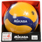 【送料無料】 MIKASA (ミカサ) バレーボール 4号ボール バレー4号 検定球 黄/青 4 V400W