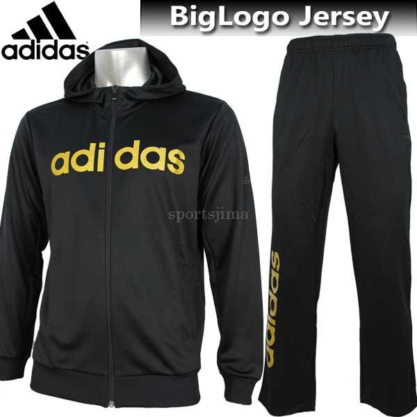 2017 ジャージ 上下 メンズ adidas アディダス ビッグロゴ ジャージ ジャケット パンツ 上下 DUV64 CE0194 DUV63 CE0198 ブラック×ゴールド