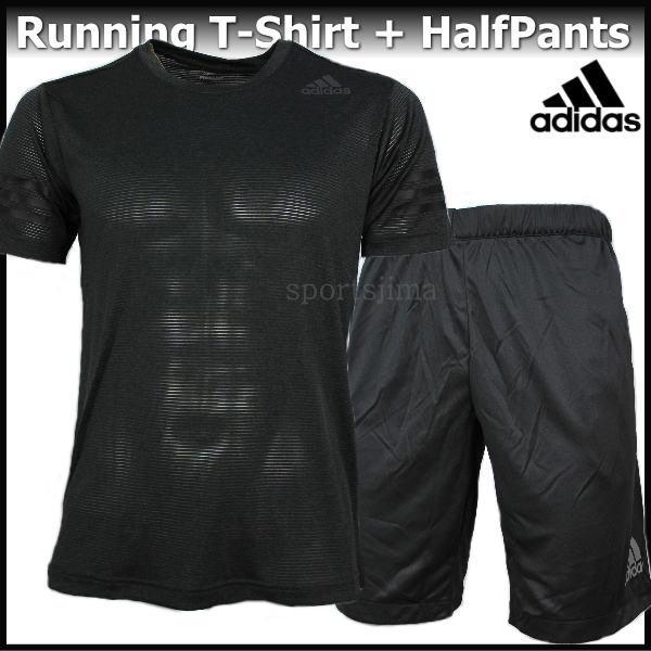 2018 Tシャツ 上下 メンズ アディダス adidas ランニング Tシャツ 半袖 +ハーフパンツ 上下 EAV14 CE0867 EUC91 CX3563 ダークグレー×ブラック
