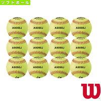 【ソフトボール ボール ウィルソン】 革ソフトボール試合球/イエロー『1ダース(12球)』(WTA9090J)の画像