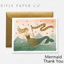 ライフルペーパー グリーティングカード Mermaid Thank You RIFLE PAPER CO. マーメイド サンキューブランド デザイナーズ カード USA アメリカ GCT028ギフト プレゼント