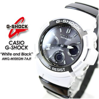 ★ ★ ★ domestic genuine ★ CASIO/G-SHOCK/g-shock g shock G shock G-shock white & Black series solar radio / radio solar watch AWG-M100GW-7AJF