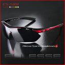 サングラスメンズエレッセ 送料無料ランニングサイクリングに最適な偏光サングラス交換レンズ5枚セットES-S101ブラック×レッド