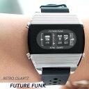腕時計 メンズ ラバー バンド クオーツ腕時計 メンズ レディース ペア ユニセックス シルバー アナログ デジタル ウォッチ ギフト プレゼント FUTURE FUNK フューチャーファンク FF104-SV-RB