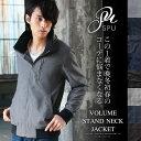 ジャケット メンズ T/C素材 スタンド ボリュームネック ジップ リブ ジャケット 男性 メンズ