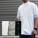 マニュアルアルファベット 半袖バンドカラーシャツ メンズ Manual Alphabet 日本製 ビッグシャツ オーバーサイズ シャツ タイプライターシャツ 半袖 ノーカラーシャツ バンドカラー 半袖シャツ シャツ タイプライター ネイビー グレージュ ma-s-476 送料無料
