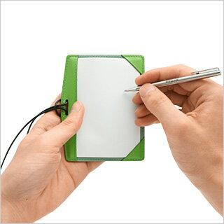 IDケース with 保存するメモ abrAsus Evernote IDケースの裏側が保存するメモ帳に IDカードホルダー 革 レザー 本革 牛革 デザイン雑貨 革小物