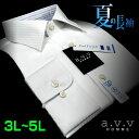 【a.v.v】形態安定・ビッグサイズドビーストライプ・セミワイドカラーシャツ(3L・4L・5L/キングサイズ)(長袖ワイシャツ/Yシャツ/ドレスシャツ/白シャツ/リクルート/フレッシャーズ/就活) 【avv】
