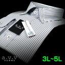 【a.v.v】形態安定・ビッグサイズダブルストライプ・マイターカラー・ボタンダウンシャツ(3L・4L・5L/キングサイズ)(メンズワイシャツ/ドレスシャツ/ビジネスシャツ/Yシャツ/ネイビー/ブルー)