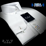 【a.v.v】形態安定・スリムフィットドビーストライプ・ショートポイント・ボタンダウンシャツ(長袖ワイシャツ/メンズワイシャツ/Yシャツ/ドレスシャツ/ビジネスシャツ/白/ホワイト)