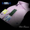 【DUKE TRIMMER】綿100%・形態安定・接触冷感・スリムフィットロンドンストライプ・ホリゾンタルカラーシャツ(夏の長袖/ビジカジ/ワイシャツ/Yシャツ/ドレスシャツ/パープル)【ss201609】