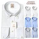 ワイシャツ 長袖 形態安定 メンズ 綿100% ワイド ボタンダウン ドビー オックス シャンブレー ビジネス ドレスシャツ Yシャツ カッターシャツ ビジネスシャツ シャツ 白シャツ 白 ブルー ネイビー ストライプ 男性 JAMES GORDON ss0614