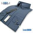 【Levin UOMO】形態安定・スリムフィットギンガムチェック・ボタンダウンシャツ(ワイシャツ/ビジカジシャツ/Yシャツ/ブルー)