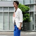 リネン地で清涼な着心地の7分袖サマージャケット メンズ カジュアル 大きいサイズ XLまで揃う 麻 夏 テーラードジャケット 麻100% ジャケット ホワイト ピンク イエロー カーキ サックスブルー ネイビー 61107