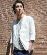 サマージャケット テーラードジャケット ジャケット 夏 メンズ 綿麻で涼しげな7分袖ジャケットスタイル リネン 無地 ホワイト ベージュ カーキ ネイビー 61115
