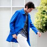 シャツコート スプリングコート メンズ コート メンズ ビジネス 3Lサイズまで揃う 大きいサイズ ステンカラーコート ロングコート カジュアルな着こなしに軽いコートスタイル ライトグレー ブルー ブラック