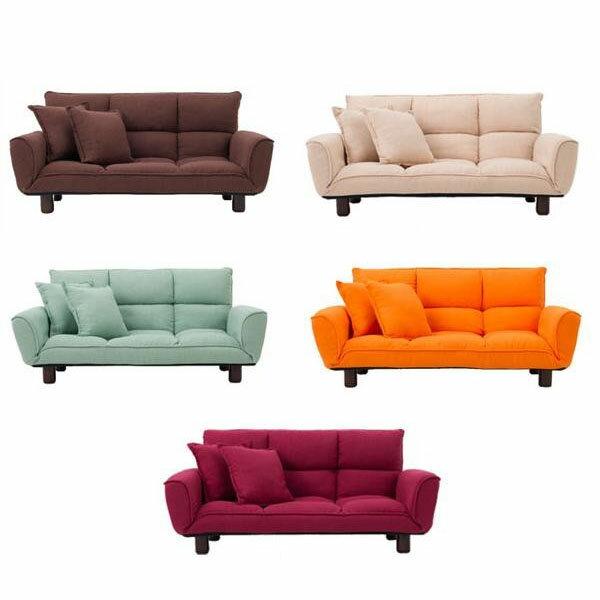 家具/収納 コンパクトカウチソファ クッション2個付き SP-622 RE・レッド 【薬用入浴剤 招福の湯 付き】背もたれと肘置きのリクライニングで、くつろぎ方色々♪