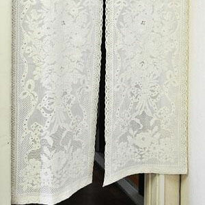 □生活関連グッズ □のれんリボンローズ 約85cm巾×150c
