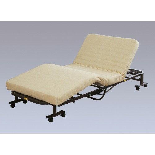 折りたたみ電動リクライニングベッド ゴールド/ブラウン リクライニング ベッド 電動ベッド リクライニングベッド