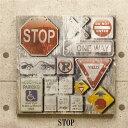 led看板 アメリカン雑貨 立体感 キャンバスLEDボード 50x50cm デザイン:STOP