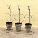 園芸 鉢 陶器 ウォールプランター H/Dスタンド トリプルハート カラー:Grey