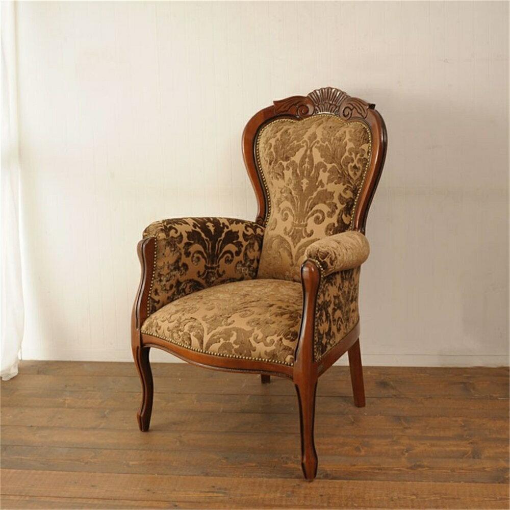 アームチェアー  茶枠 ベルベットクラシック柄 1脚 椅子 いす イス chair チェアー リビングチェアー アームチェア 肘掛付き イタリア製 猫脚 サロンチェア ダマスク柄