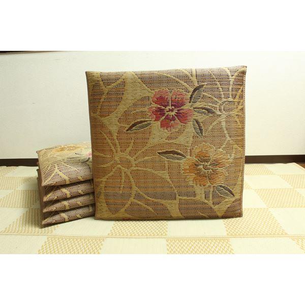 生活用品・インテリア・雑貨 純国産 袋織 織込千鳥 い草座布団 『なでしこ 5枚組』 ベージュ 約60×60cm×5P