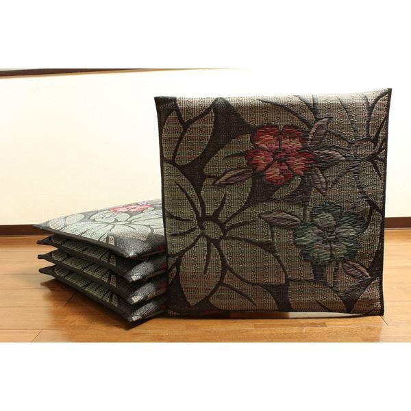 インテリア・家具 純国産 袋織 織込千鳥 い草座布団 『なでしこ 5枚組』 ブルー 約60×60cm×5P