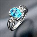 リング・指輪 ブルートパーズ・ダイヤリング 指輪 シルバーリング B0024 11号