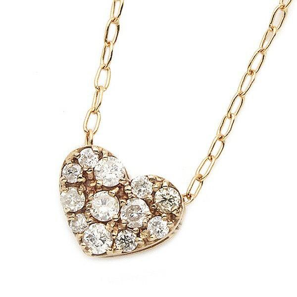 ファッション K18ピンクゴールド ダイヤモンドネックレス 0.15CT ハートダイヤパヴェネックレス 【薬用入浴剤 招福の湯 付き】天然のダイヤモンドは厳選した素材と輝き
