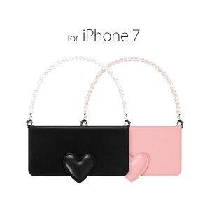 日用雑貨 abbi iPhone7 Heart Diary ブラック