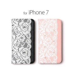 日用雑貨 abbi iPhone7 Lace Diary ブラック
