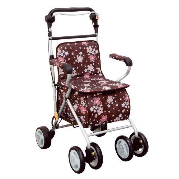 健康器具 シルバーカー/ハーベストウォーカー(2) 反射機能/杖ホルダー付き 花柄 [歩行補助用品/介護用品] 【角型せんたくネット 付き】ハンドル高調整可。座面下収納のショッピングに最適な歩行補助車